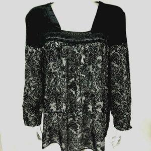 Sundance Black Velvet Lace Silk Top M